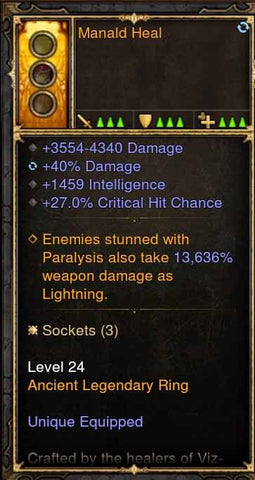 2.4.3 Manald Heal Wizard Ring 40% Damage, 1459 int, 27% cc (Unsocketed)-Diablo 3 Mods - Playstation 4, Xbox One, Nintendo Switch