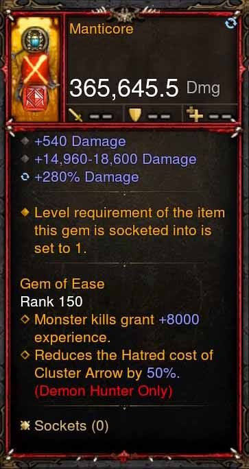 [Primal Ancient] 365k Actual DPS Manticore-Diablo 3 Mods - Playstation 4, Xbox One, Nintendo Switch