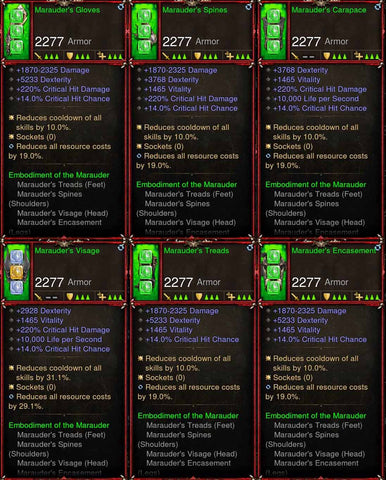 [Primal Ancient] 6x Marauders Demon Hunter Set-Diablo 3 Mods - Playstation 4, Xbox One, Nintendo Switch