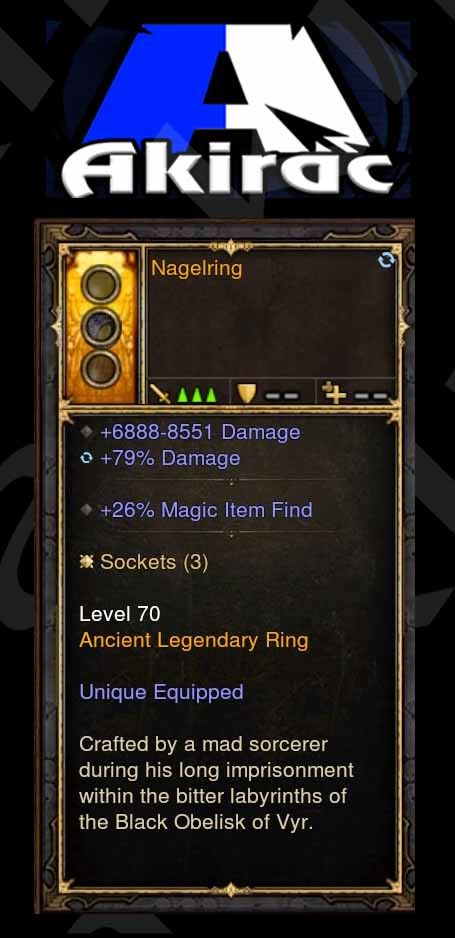 Nagelring (Magic Find) 6.8k-8.5k Damage, 79% Damage Modded Ring (Unsocketed)-Diablo 3 Mods - Playstation 4, Xbox One, Nintendo Switch