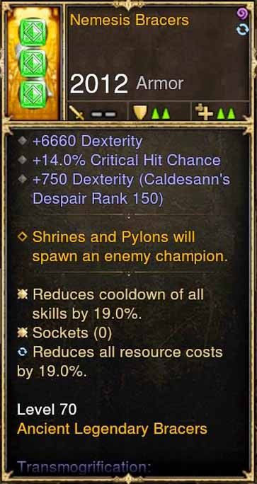 Nemesis Bracers 6.6k Dex, 14 CC, 19 CDR, 19 RR-Diablo 3 Mods - Playstation 4, Xbox One, Nintendo Switch