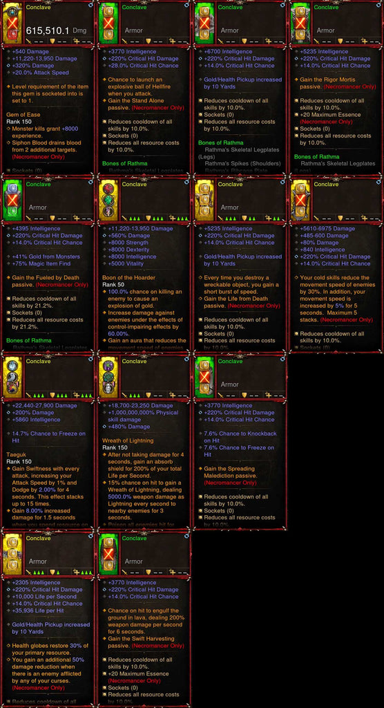 [Primal Ancient] 1-70 Rathma Necromancer Set Conclave for gRift 150-Diablo 3 Mods - Playstation 4, Xbox One, Nintendo Switch