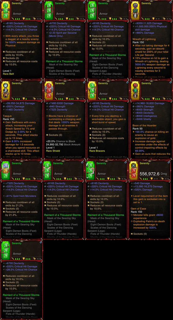 [Primal Ancient] 1-70 Thousand Storms Monk Set Serenity for gRift 150-Diablo 3 Mods - Playstation 4, Xbox One, Nintendo Switch