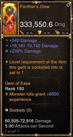 Panther's Claw 333k Actual DPS Modded Weapon-Diablo 3 Mods - Playstation 4, Xbox One, Nintendo Switch