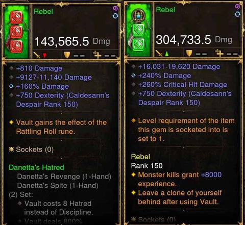 Rebel Addon: 304k/143k Actual DPS Danetta's Weapon Combo-Diablo 3 Mods - Playstation 4, Xbox One, Nintendo Switch