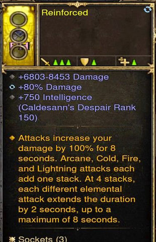 100% Damage Increase From Elemental Wizard Modded Ring (Unsocketed) Reinforced-Diablo 3 Mods - Playstation 4, Xbox One, Nintendo Switch