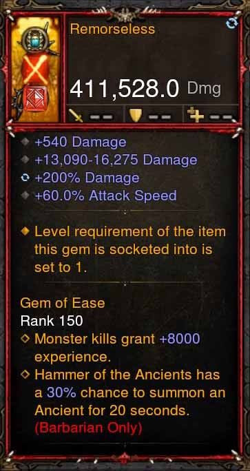 [Primal Ancient] 411k DPS Remorseless-Diablo 3 Mods - Playstation 4, Xbox One, Nintendo Switch