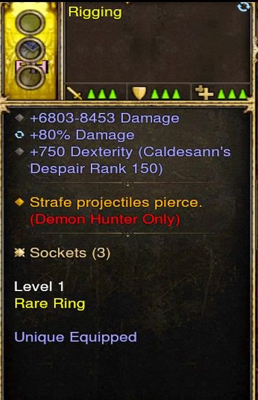 Strafe Projectiles Pierce Demon Hunter Modded Ring (Unsocketed) Rigging-Diablo 3 Mods - Playstation 4, Xbox One, Nintendo Switch