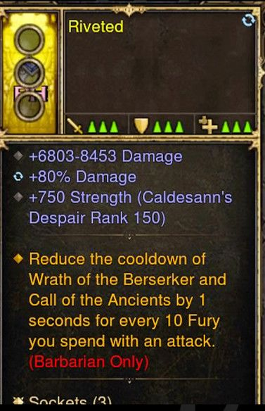 Reduce Cooldown of Wrath of the Berserker Barbarian Modded Ring (Unsocketed) Riveted-Diablo 3 Mods - Playstation 4, Xbox One, Nintendo Switch
