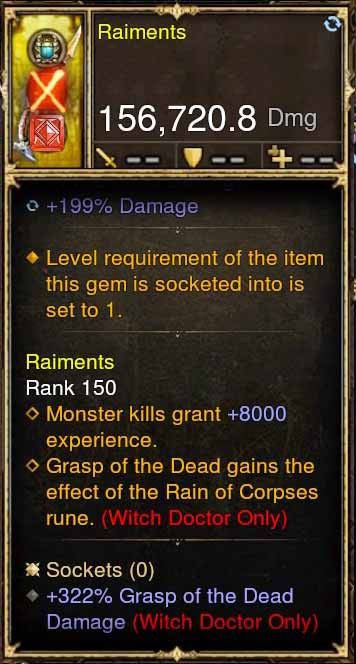 Raiments Weapon Deadly Rebirth +322% Grasp of the Dead Damage-Diablo 3 Mods - Playstation 4, Xbox One, Nintendo Switch