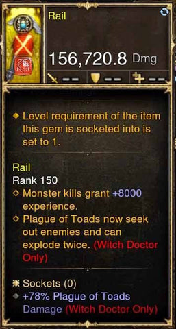 Rail Modded Weapon Rhen'ho Flayer +78% Plague of Toads Damage-Diablo 3 Mods - Playstation 4, Xbox One, Nintendo Switch