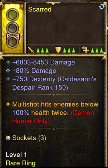 Multishot hits twice 100% Chance Demon Hunter Modded Ring (Unsocketed) Scarred-Diablo 3 Mods - Playstation 4, Xbox One, Nintendo Switch