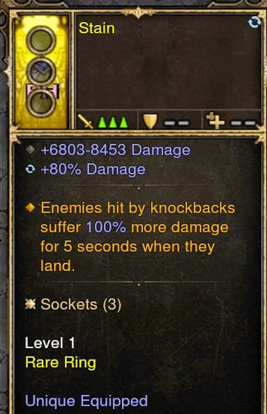 Knockback increases damage by 100% Modded Ring (Unsocketed) Stain-Diablo 3 Mods - Playstation 4, Xbox One, Nintendo Switch