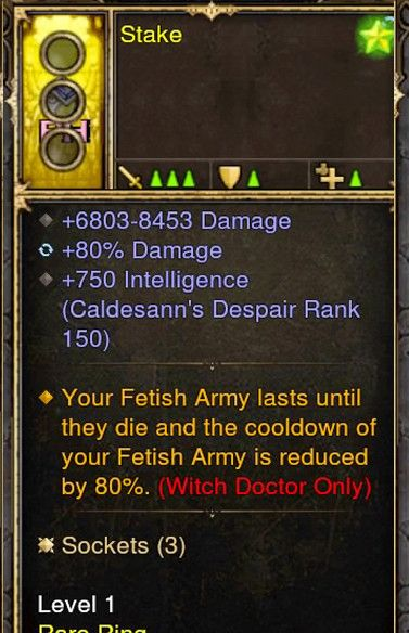 Fetishs Last until they Die Witch Doctor Modded Ring (Unsocketed) Stake-Diablo 3 Mods - Playstation 4, Xbox One, Nintendo Switch