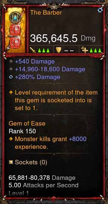 [Primal Ancient] 365k Actual DPS The Barber-Diablo 3 Mods - Playstation 4, Xbox One, Nintendo Switch
