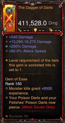 [Primal Ancient] 411k DPS The Dagger of Darts-Diablo 3 Mods - Playstation 4, Xbox One, Nintendo Switch