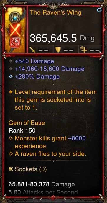 [Primal Ancient] 365k Actual DPS The Ravens Wing-Diablo 3 Mods - Playstation 4, Xbox One, Nintendo Switch
