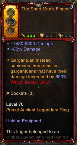 [Primal Ancient] [QUAD DPS] 2.6.1 The Short Mans Finger Ring-Diablo 3 Mods - Playstation 4, Xbox One, Nintendo Switch