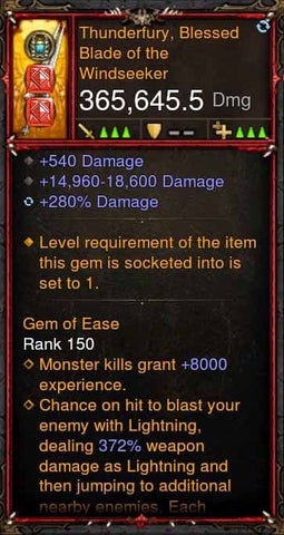 [Primal Ancient] 365k Actual DPS Thunderfury, Blessed Blade of the Windseeker-Diablo 3 Mods - Playstation 4, Xbox One, Nintendo Switch