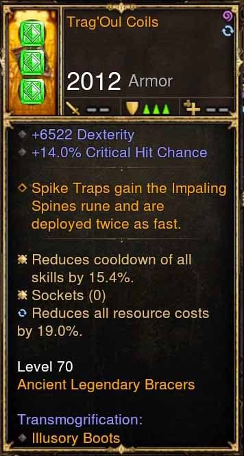 Trag'Oul Coils p4.2.2 6.5k Dex, 14% Crit Modded Bracers-Diablo 3 Mods - Playstation 4, Xbox One, Nintendo Switch