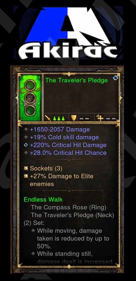 Traveler's Pledge 27% Elite Damage, 220% CHD, 28% CC, 19% Cold Damage (Unsocketed) Modded Amulet-Diablo 3 Mods - Playstation 4, Xbox One, Nintendo Switch