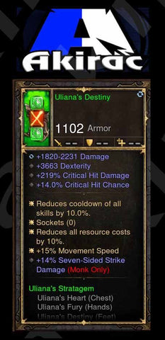 Ulania's Destiny 15% MS, 219% CHD, 14% SS Strike Damage, 14% CC Modded Set Boots Monk-Diablo 3 Mods - Playstation 4, Xbox One, Nintendo Switch