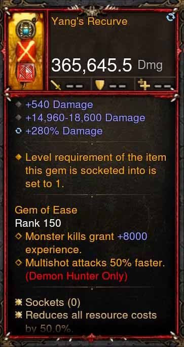 [Primal Ancient] 365k Actual DPS Yangs Recurve-Diablo 3 Mods - Playstation 4, Xbox One, Nintendo Switch