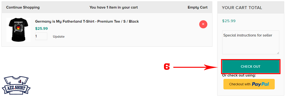 How to order t-shirt Step 2