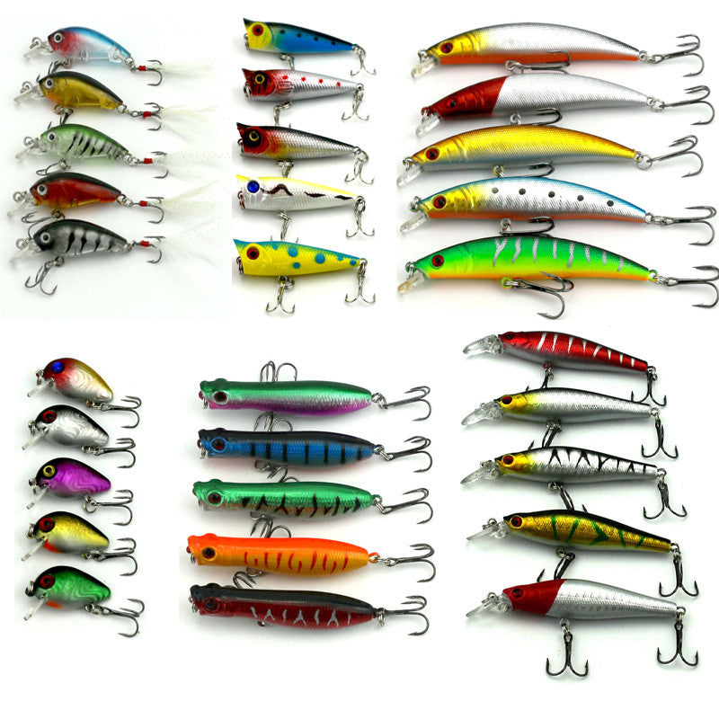 30 pcs mixed fishing lures 6 different shapes 30 colors free, Hard Baits