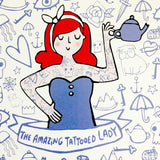 amazing tattooed lady print by katie abey for stag and raven