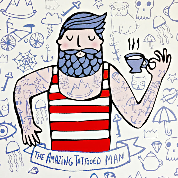 amazing tattooed man art print by katie abey for stag and raven