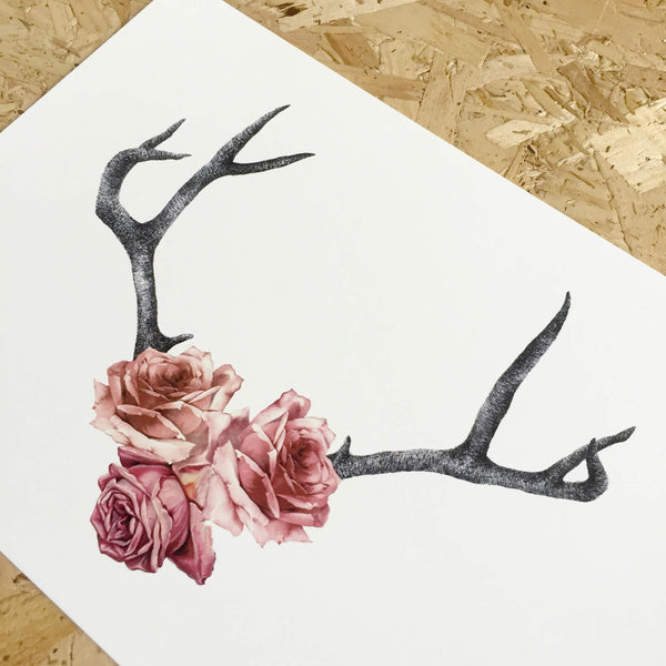 floral antlers art print by tattoo artist becci maryanne