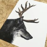 sebastian wolf with antlers art print by tattoo artist becci manryanne