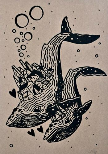 whale city limited edition screen print by tattoo artist cameron hay