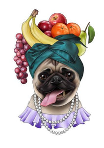 carmen miranda pug limited edition art print by tattoo artist stephanie melbourne