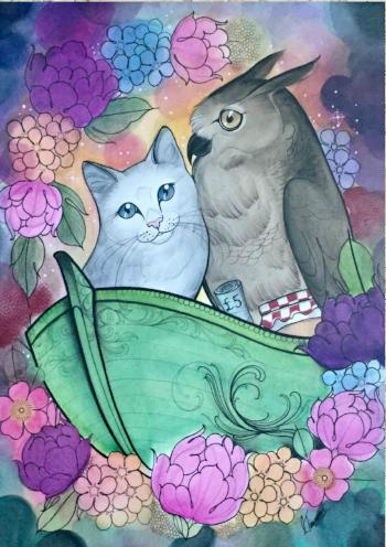 owl and the pussycat art print by tattoo artist charlotte timmons