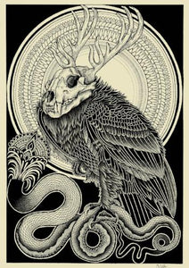 rapture screen print by tattoo artist dale sarok