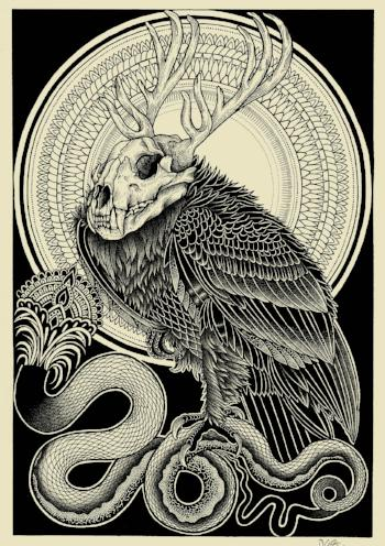 vulture skull limited edition screen print by tattoo artist dale sarok