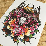 stag skull and peonies limited edition print by tattoo artist daryl watson