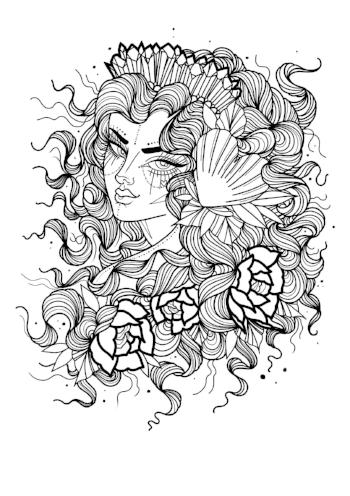 mermaid blackwork art print by tattoo artist emily dawson