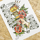 female leaders traditional tattoo style print by tattoo artist becky w pope