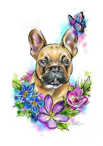 frenchie with flowers watercolour art print by tattoo artist angharad chappelle