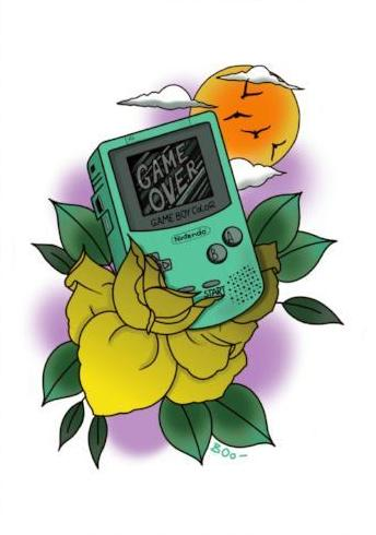 game boy limited edition art print by tattoo artist becci boo