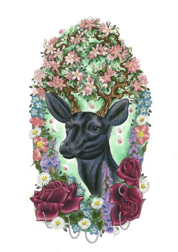 floral deer limited edition art print by tattoo artist georgina liliane