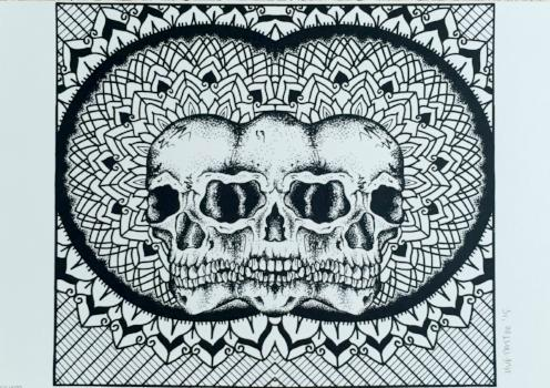 geometric skulls screen print by tattoo artist hannah von farren