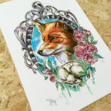 handsome fox limited edition art print by tattoo artist joanne baker