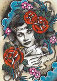 painted lady limited edition art print by tattoo artist polly sands taylor