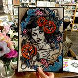 painted lady art print by tattoo artist polly sands taylor