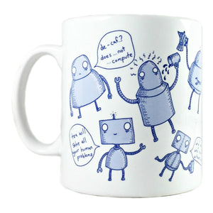 robot illustration mug by jon turner