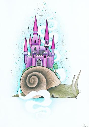 fairy castle on snail art print by tattoo artist sophie adamson